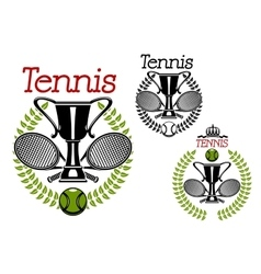 Tennis sport emblems with game items vector