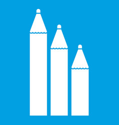 Three pencils icon white vector