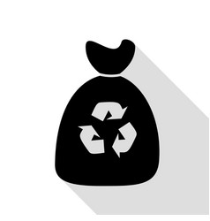trash bag icon black icon with flat style shadow vector image