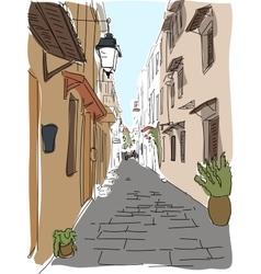 Traveling European Greece street sketch vector