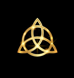 Triquetra geometric logo gold trinity knot wiccan vector