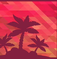 Tropical landscape palm under clean red vector
