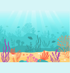underwater background cartoon seascape with coral vector image