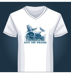 V neck shirt template with jumping whale vector