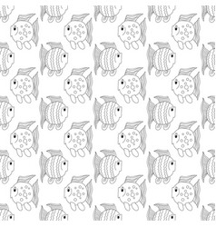 white funny fish seamless pattern vector image