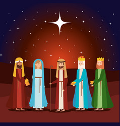 Wise kings with mary and joseph manger characters vector