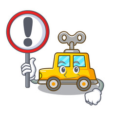With sign character clockwork car for toy children vector