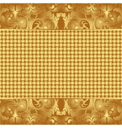 Yellow brown background with floral ornaments vector