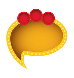 Yellow oval chat bubble with circles icon vector