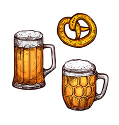 beer glass and bavarian pretzel isolated sketch vector image vector image