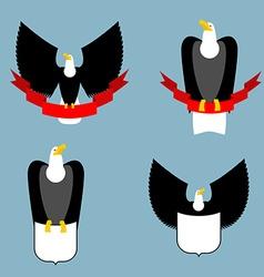 Eagle and red ribbon set Black bird predator Hawk vector image