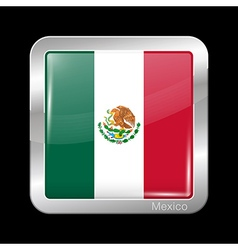 Flag of Mexico Metal Icon Square Shape vector image vector image