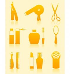 hairdressing salon icons vector image vector image