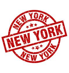 new york red round grunge stamp vector image