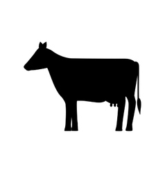 silhouette monochrome with farm cow vector image