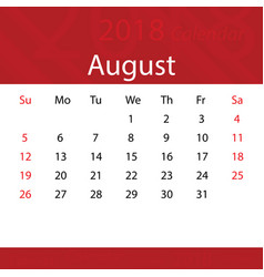 august 2018 calendar popular red premium for vector image