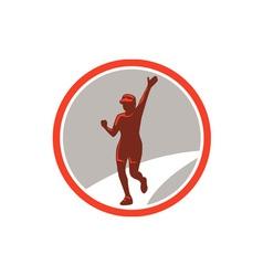 Female Marathon Runner Running Circle Retro vector image