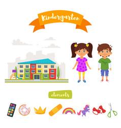 kindergarten set of elements vector image