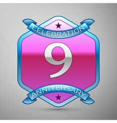 Nine years anniversary celebration silver logo vector image vector image