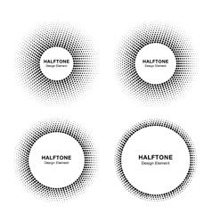 Set of abstract halftone circle frames vector image vector image