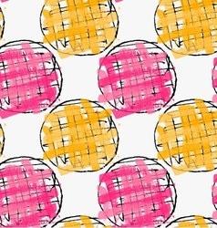 Artistic color brushed pink orange hatched circles vector