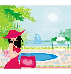 elegant woman on tropical vacation vector image