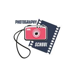 photography school sign with photo camera vector image vector image