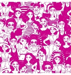 Saeamless pattern with doodle women vector image vector image