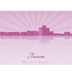 Tucson skyline in purple radiant orchid vector image