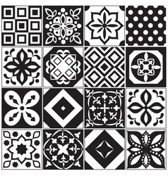 vintage black and white traditional ceramic floor vector image vector image