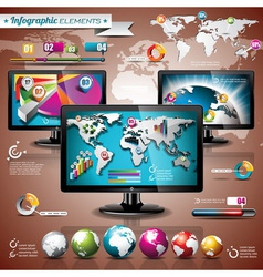 world map and information graphic on shiny display vector image vector image