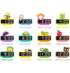 12 colorful digital clocks vector image vector image