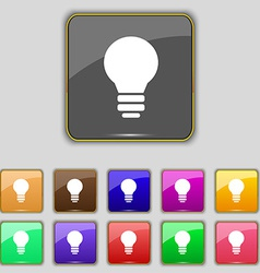 Light lamp Idea icon sign Set with eleven colored vector image