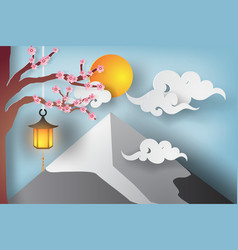 paper art of beautiful landscape with sakura vector image