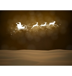 reindeer and Santa Claus on moon background vector image