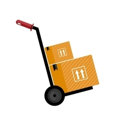 Trolley with boxes icon vector