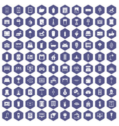 100 interior icons hexagon purple vector image