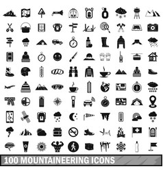 100 mountaineering icons set simple style vector
