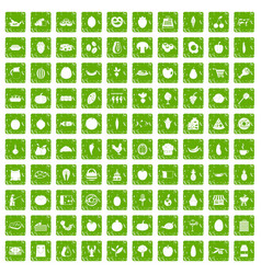 100 natural products icons set grunge green vector image