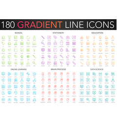 180 trendy color gradient style thin line icons vector