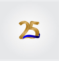 25 years anniversary celebration number gold vector