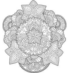 adult coloring book page with beautiful flowers vector image