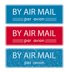 Air mail postmark blue and red postal element vector