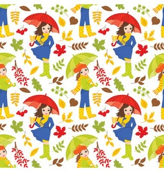 Autumn Girls Seamless Pattern vector