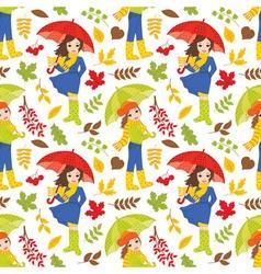 Autumn Girls Seamless Pattern vector image