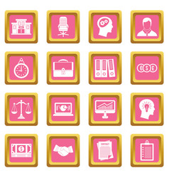 Banking icons pink vector