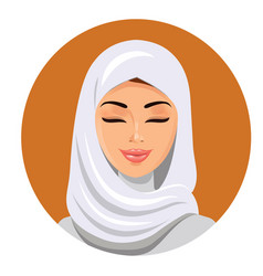 Beautiful muslim woman in hijab closing her eyes vector