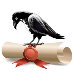 Black raven and diploma vector