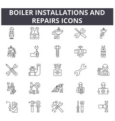 Boiler installations and repairs line icons for vector