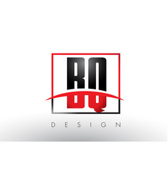 Bq b q logo letters with red and black colors and vector